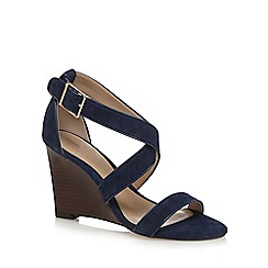 J by Jasper Conran - Navy suede 'Jaylee' high wedge heel ankle strap sandals
