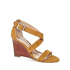 J by Jasper Conran - Tan suede 'Jaylee' high wedge heel sandals