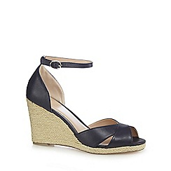 J by Jasper Conran - Navy 'Jennabel' high wedge heel ankle strap sandals