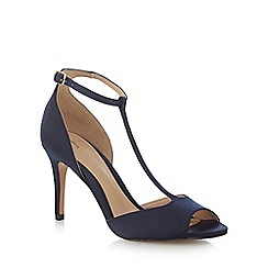 J by Jasper Conran - Navy satin 'Jemma' high stiletto heel T-bar sandals