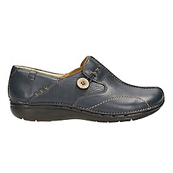 Clarks - An unstructured navy leather slip