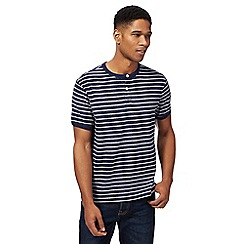 St George by Duffer - Big and tall navy striped grandad t-shirt