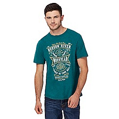 St George by Duffer - Green Hudson river print t-shirt