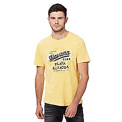 St George by Duffer - Big and tall yellow Havana club print t-shirt