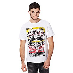 St George by Duffer - Big and tall white car print t-shirt