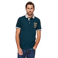St George by Duffer - Big and tall dark green contrast collar polo shirt
