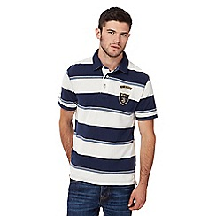 St George by Duffer - Big and tall navy and white striped polo shirt