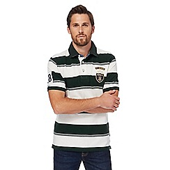St George by Duffer - Big and tall dark green striped polo shirt