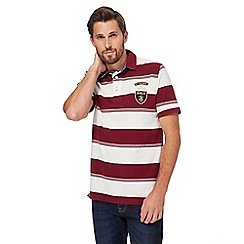 St George by Duffer - Big and tall red pique striped polo shirt