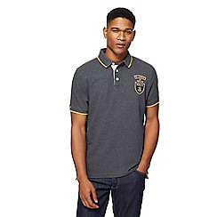 St George by Duffer - Big and tall dark grey logo applique polo shirt