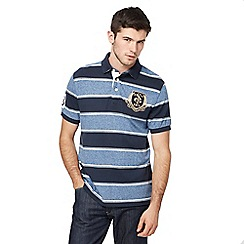 St George by Duffer - Big and tall navy striped embroidered logo polo shirt