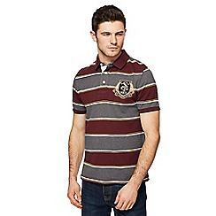 St George by Duffer - Dark red and grey green striped polo shirt