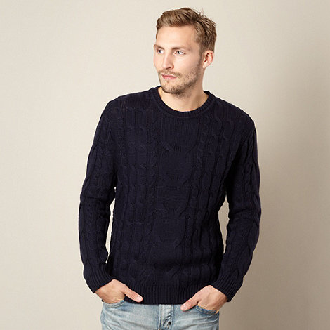 St George by Duffer - Navy cable knit jumper
