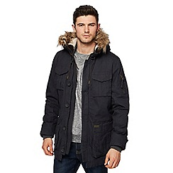 St George by Duffer - Navy faux fur trim parka coat