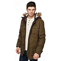 St George by Duffer - Big and tall khaki faux fur trim parka coat