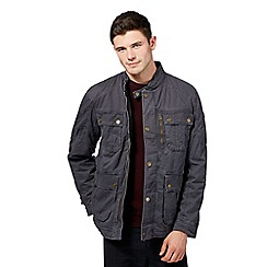 St George by Duffer - Big and tall dark grey funnel neck jacket