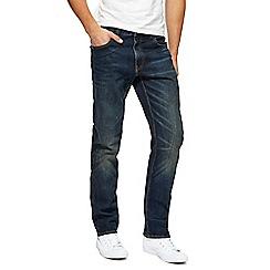 St George by Duffer - Dark blue vintage wash straight leg jeans