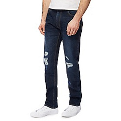 St George by Duffer - Blue mid wash distressed straight leg jeans