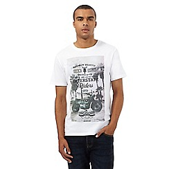 St George by Duffer - Big and tall white motorbike print t-shirt
