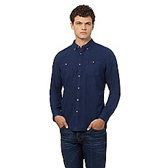 St George by Duffer - Navy indigo print regular fit shirt