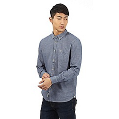 St George by Duffer - Navy blue button down brushed shirt