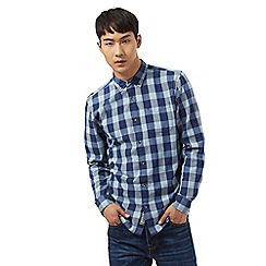 St George by Duffer - Big and tall long sleeve navy checked print shirt