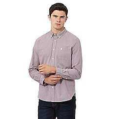 St George by Duffer - Dark red long sleeve micro gingham shirt