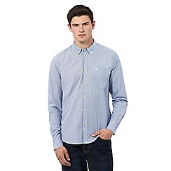 St George by Duffer - Big and tall blue long sleeve micro gingham shirt