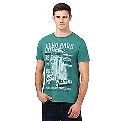 St George by Duffer - Big and tall green 'Echo Park' print t-shirt