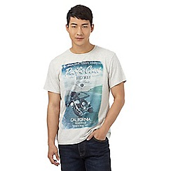 St George by Duffer - Big and tall grey 'pacific coast motorbike' print t-shirt