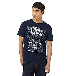 St George by Duffer - Big and tall navy 'fat frankie's burger shack' print t-shirt