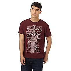 St George by Duffer - Big and tall dark red neppy 'williamsburg moto club' print t-shirt