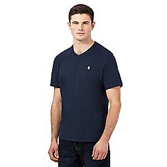 St George by Duffer - Navy logo embroidered V neck t-shirt