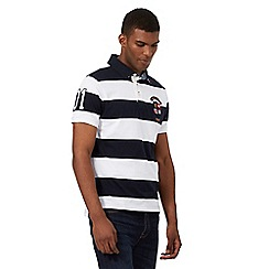 St George by Duffer - Big and tall blue striped print polo shirt