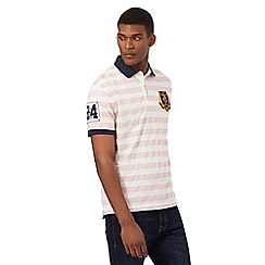 St George by Duffer - Big and tall pink striped print polo shirt