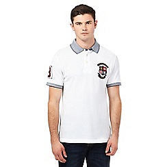 St George by Duffer - Big and tall white logo applique polo shirt