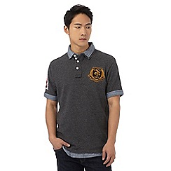 St George by Duffer - Big and tall dark grey textured mock polo shirt