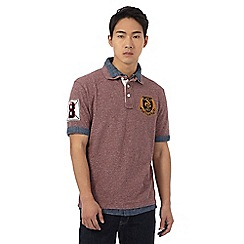 St George by Duffer - Big and tall dark red textured mock polo shirt