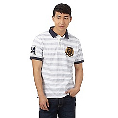 St George by Duffer - Big and tall white herringbone striped print polo shirt