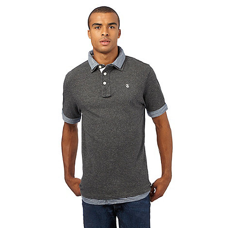 St george by duffer big and tall dark grey mock polo shirt for Big and tall mock turtleneck shirt