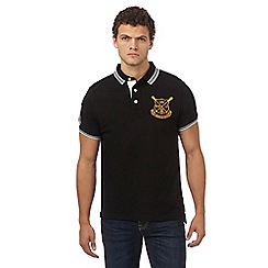 St George by Duffer - Big and tall black logo applique polo shirt