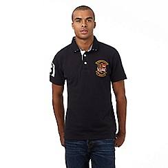St George by Duffer - Big and tall navy logo applique polo shirt