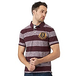 St George by Duffer - Big and tall dark red block striped polo shirt
