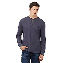 St George by Duffer - Big and tall navy long sleeve waffle top