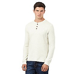 St George by Duffer - Big and tall cream long sleeve waffle top
