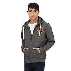 St George by Duffer - Big and tall dark grey zip through hoodie