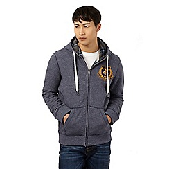 St George by Duffer - Blue embroidered logo zip through hoodie