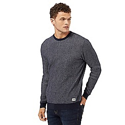 St George by Duffer - Navy textured crew neck jumper