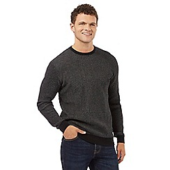 St George by Duffer - Black textured crew neck jumper