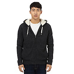 St George by Duffer - Dark grey quilted lined hoodie with wool